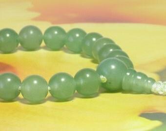 Green Aventurine Wrist Mala : Buddhism Prayer Beads / 21 Beads or 27 Beads / Short Mala / Juzu Nenju / Japa Mala / Heart 4th Chakra / 8mm