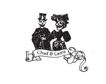 custom wedding stamp dia de los muertos wedding day of the dead bride and groom Custom rubber stamp Halloween