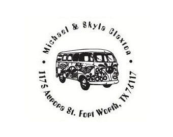 custom Hippie VW bus kombi Rubber Stamp