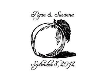 Georgia Peach save the date wedding custom rubber stamp