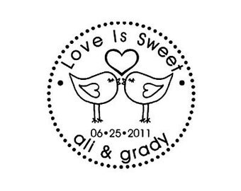 Love is Sweet Love Birds Custom Wedding Rubber Stamp lovebirds