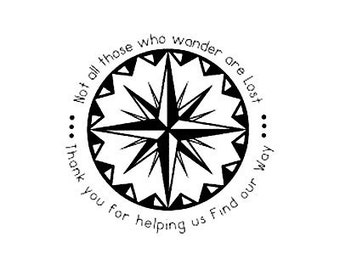 Not All Those Who Wander are Lost custom compass rose wedding stamp