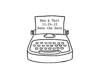 Wedding save the date antique typewriter custom rubber stamp vintage typewriter