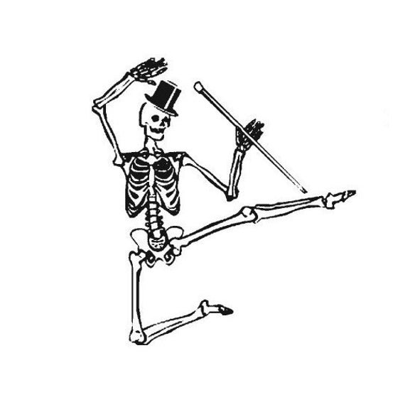 Dancing Skeleton With Top Hat And Cane Mounted Rubber Stamp