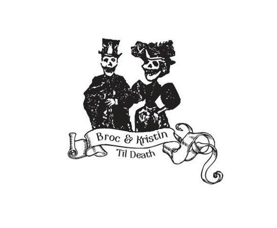 Til Death dia de los muertos wedding day of the dead bride and groom Custom rubber stamp Halloween skeleton skelly