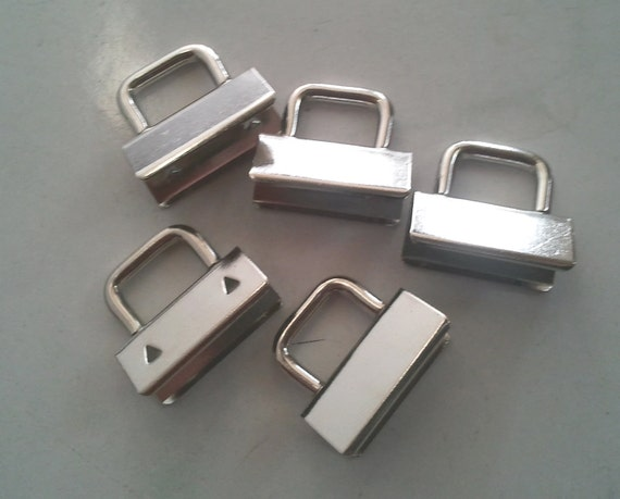 "CLEARANCE 20 1"" nickel key Fob Hardware strap ends"
