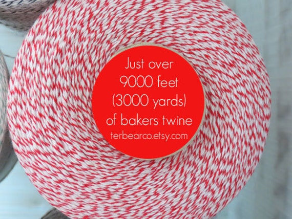 CLEARANCE Bakers twine 3000 yards Red and White spool