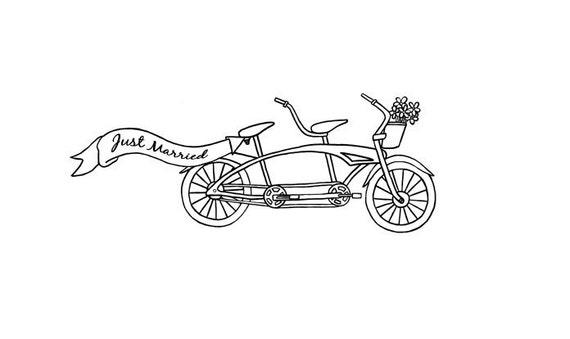 hochzeit tandem fahrrad mit fahne und korb voller. Black Bedroom Furniture Sets. Home Design Ideas