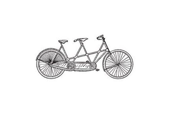 Bicycle built for two tandem bike Rubber Stamp