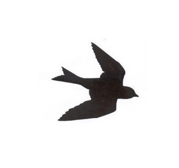 Silhouette Swallow in Flight Mounted Rubber Stamp Large Bird