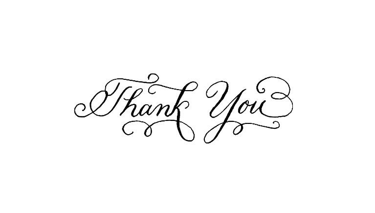 Calligraphy thank you rubber stamp Thank you in calligraphy writing