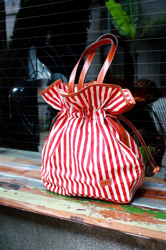 Quote Leather and Canvas Bloom Bag -- Candy Stripes