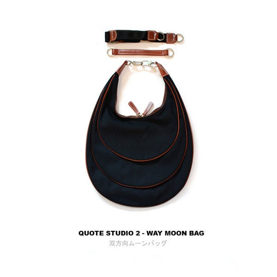 QUOTE Crescent Moon leather n Canvas Bag --- black