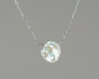 Keshi Keishi Floating Pearl Necklace with White Cultured Freshwater Keshi Petal Pearl 14k Gold Fill or Sterling Silver