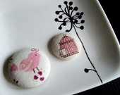 Linen bird cage pin set - I want to go home