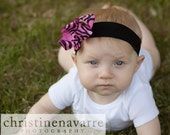 HOT Pink and Black ZEBRA Print Boutique Bow Headband Baby Toddler Girl MUST Have