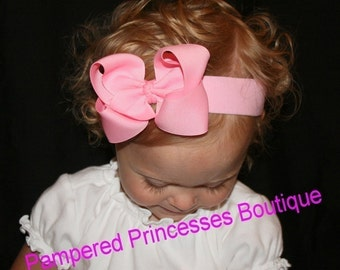 PINK Big Boutique Hair Bow Headband MUST Have matches LOTS Baby Toddler Girl