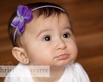 Lavender Purple Hawaiian Hydrangea Flower with BIG Bling Center on Skinny Elastic Headband Baby Toddler Girl Wedding Luau Photo Prop MUST