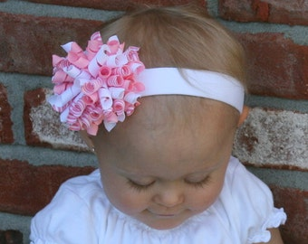 Pink and White Boutique Korker Bow Headband Birthday Baby Toddler Girl MUST HAVE