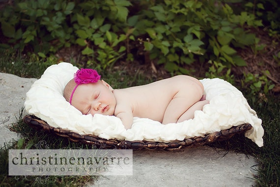 Fuschia Pink Chiffon Flower on Thin Dainty Elastic Headband Newborn Baby Toddler Girl Wedding Flower Girl Photo Prop MUST HAVE