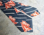 1950s Wide Horse Tie Forest Green Sepia Brown Vintage Equine Cowboy Necktie California Swagger
