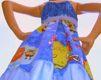 Sponge Bob Dress OOAK Blue Yellow Geek Hippie Upcycled Cartoon Sundress Adult M L XL