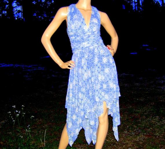 Infinity Tie Dress Pixie Hem OOAK Small to XL Sky Blue Fairy Hem Woodland Convertible Sundress