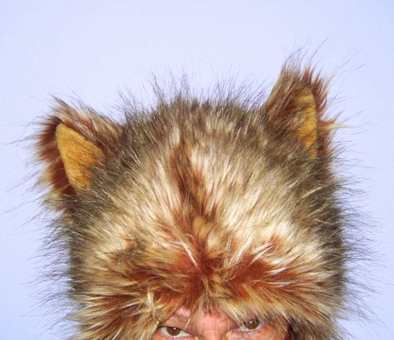 Furry Wolf Hat Ears Brown Really Real Wolf-like Fur Burning Man Jacob Black Costume Hat