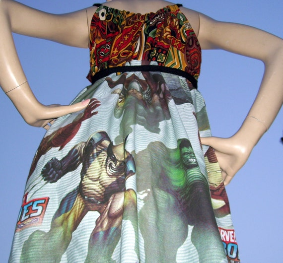 Avengers Sundress OOAK Upcycled Marvel Hero Dress Ironman SpiderMan Wolverine Thor Hulk M L XL XXL