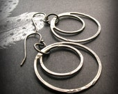 Double Open Circle Earrings - Rustic Earring - Hand Hammered Silver Jewelry - Boho Earrings - Hammered Circle Earrings - Oxidized Earring