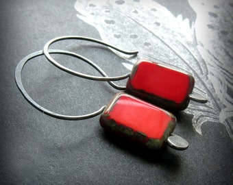 Red Earrings, Sterling Silver with Czech Glass - Little Bits Red Red Red