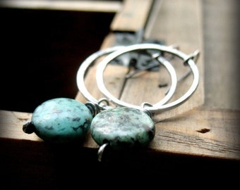 Turquoise Earrings, Turquoise Hoop Earrings Hammered Circle Earrings African Turquoise, Wire Wrapped Turquoise, Green Turquoise Earring