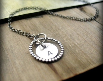 Initial Necklace, Monogrammed Gifts, Sterling Silver Letter Necklace,Silver Monogram Necklace,Circle Monogram Necklace,Personalized