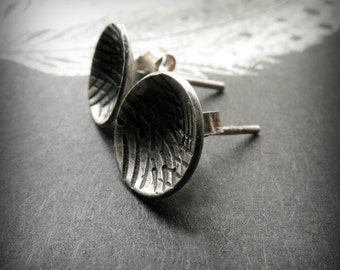 Sterling Silver Post Earrings - Rustic Post Earring - Silver Stud Earring - Concave Earring - Everyday Silver Posts - Rustic Disc Earrings