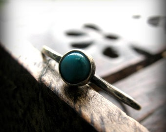Turquoise Stacking Ring, Rustic Oxidized Sterling Silver Jewelry - Simple Things