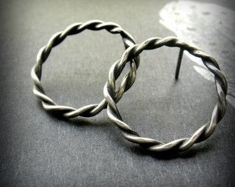 Sterling Post Earrings, Twisted Silver Earrings, Simple Post Earrings, Oxidized Silver Jewelry, Open Circle Earrings, Small Post