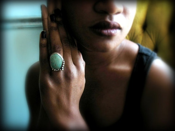 OOAK Turquoise Ring, Rustic Sterling Silver Embellished with Silver Drops for a Southwestern Aesthetic - The Ways Of The Wind
