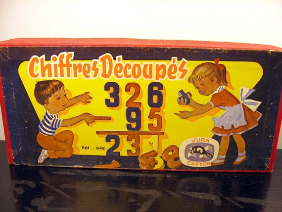 chiffres decoupes vintage french painted wooded set of numbers - toy blocks - made in france