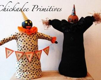 Mixed Media Pumpkin Folk Fall Halloween Decor Doll Pattern