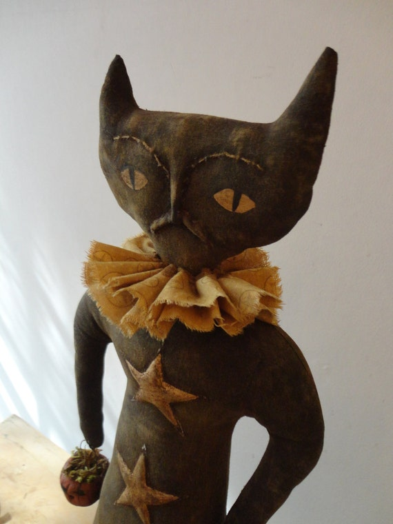 Primitive Halloween Fall Cat Doll Pattern with Clay Jack-o-lantern and Stars ETSYFOLK