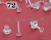 72 Plastic Earring Posts, Clear Plastic Studs w/ Backs, make 36 pairs of hypoallergenic earrings or use as Invisible Ear Piercing Retainers