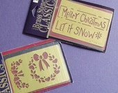 Brass Embossing Stencil, Merry Christmas, Let It Snow and a Wreath with Hearts, destash for making Holiday Cards