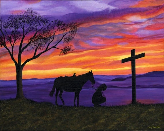 8x10 print of girl kneeling at the cross with horse at sunset