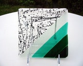 6x6 Diagonal stripe green and black speckle glass dish
