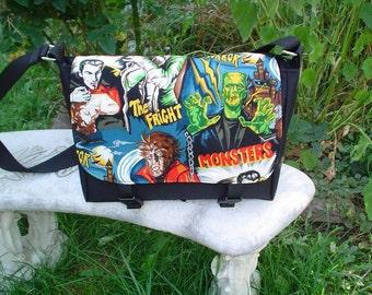 Movie monsters mini messenger bag, cross body bag, small messenger, The Zeldina