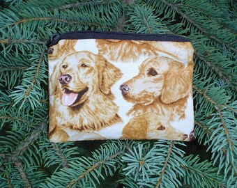Golden Retriever Faces Coin Purse, credit card pouch, gift card pouch, stitch marker pouch, The Raven