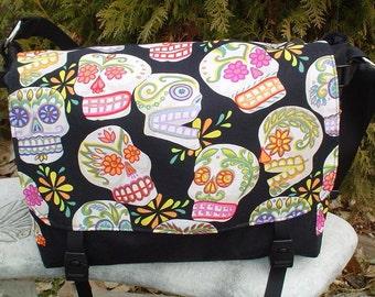 Sugar Skulls messenger bag, diaper bag, project bag, cross body bag, Day of the Dead, Lynx Deluxe