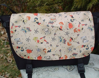 Retro roller derby girls messenger bag, diaper bag, project bag, The Zelda