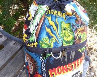 movie monsters WIP knitting bag,drawstring bag, knitting in public bag, small project bag, Kipster