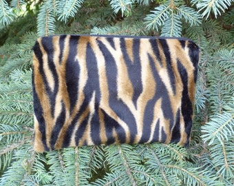Tiger faux fur zippered bag, makeup case, accessory bag, The Scooter